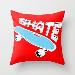 Skate skatboard blue stars sky night gift Throw Pillow