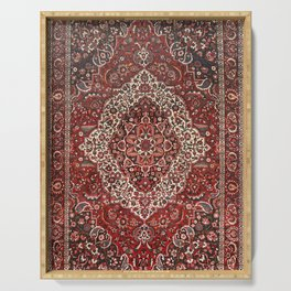 Persian Bakhtiari Old Century Authentic Colorful Deep Dark Red Tan Vintage Patterns Serving Tray