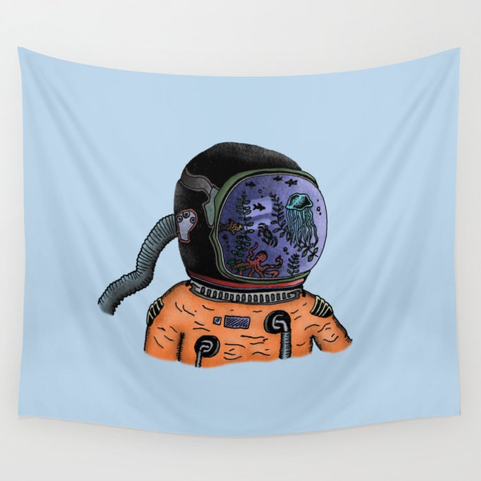 Sea Astronaut Wall Tapestry