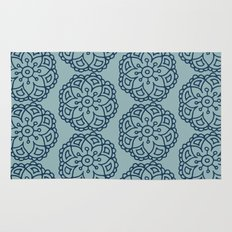 Navy blue lace floral Rug