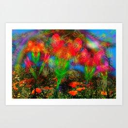 Wild Poppy Hallucintion Art Print