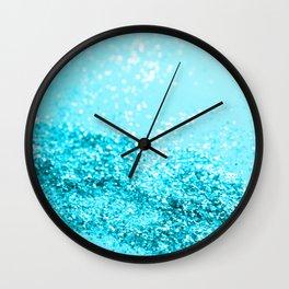 Aqua Blue Glitter #1 #shiny #decor #art #society6 Wall Clock