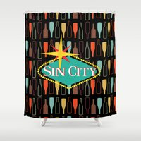 sin city Shower Curtains featuring Sin City by Chelsea Dianne Lott