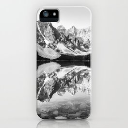 Moraine Lake Reflection Black and White iPhone Case