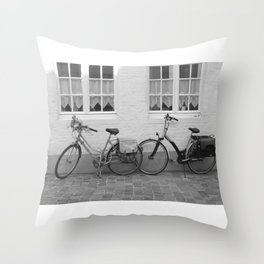 Bicycles in Bruges Throw Pillow