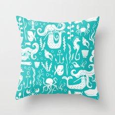 Under The Sea Aqua Throw Pillow