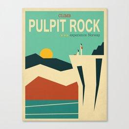 Pulpit Rock, Scandinavia, Norway, Travel poster Canvas Print