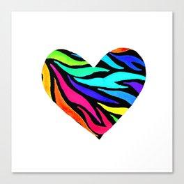 Rainbow Zebra Print Heart! Canvas Print