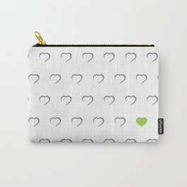 Hearts - Green Carry-All Pouch