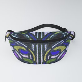 Blue and Green Glowing Art Nouveau Stain Glass Design Fanny Pack