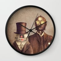 victorian Wall Clocks featuring Victorian Robots  by Terry Fan