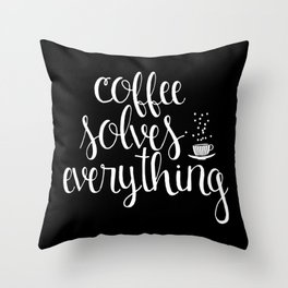 Coffee Solves Everything (inverted) Throw Pillow
