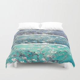 Vincent Van Gogh : Almond Blossoms Panel Art Turquoise Teal Steel Blue Duvet Cover