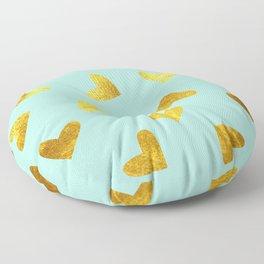 gold heart pattern blue Floor Pillow