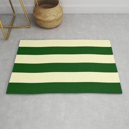 Dark Emerald Green and Cream Large Stripes Rug