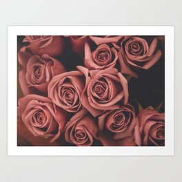 faded film style pink roses Art Print
