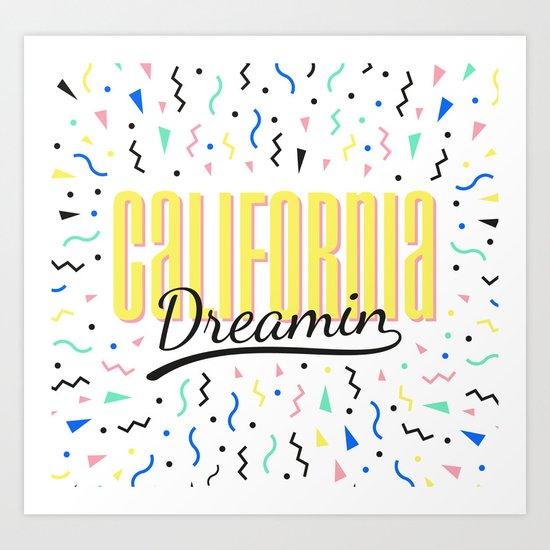 California dreamin (memphis pattern) Art Print