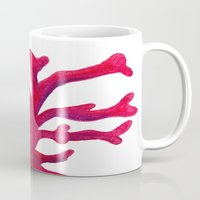 coral Mugs featuring Coral by Hayley Lang