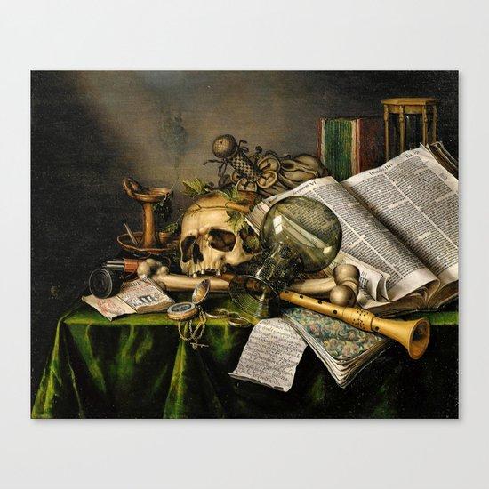 Vintage Vanitas- Still Life with Skull Canvas Print