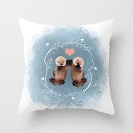 Otter Love Throw Pillow