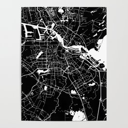 Amsterdam Black on White Street Map Poster