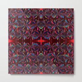 Ruby Neon- Abstract Floral Metal Print