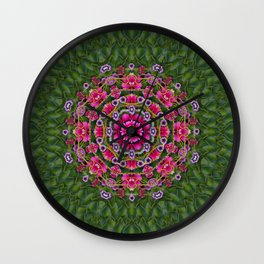 fantasy floral wreath in the green summer  leaves Wall Clock