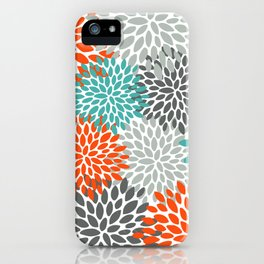 Floral Pattern, Abstract, Orange, Teal and Gray iPhone Case