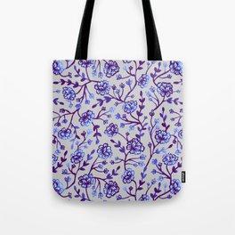 Watercolor Peonies - Periwinkle Tote Bag