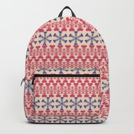 Vintage red blue ivory abstract Christmas pattern Backpack