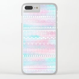 Hand Drawn African Patterns - Pastel Pink & Turquoise Clear iPhone Case