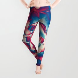 Fantasy flower garden. Color explosion. Abstract blooming blue and red summer peony flower. Lovely glamorous moody artistic floral botanical design. Beauty of nature. Leggings
