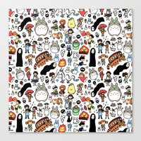 type Canvas Prints featuring Kawaii Ghibli Doodle by KiraKiraDoodles