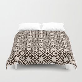 -A28- Brown Traditional Moroccan Pattern Artwork. Duvet Cover