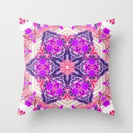 bouquet-lined bridges mandala Throw Pillow