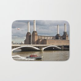 Battersea Power Station with Pink Floyd Pig Bath Mat