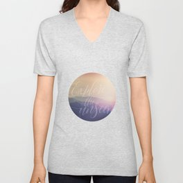 Motivational Typography And Scenic View Unisex V-Neck