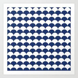 Navy Clamshell Pattern Art Print