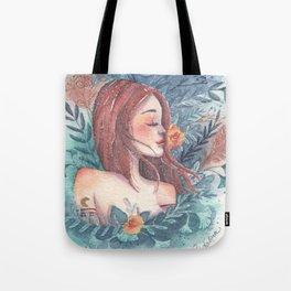 Flowers magic, girl portrait Tote Bag