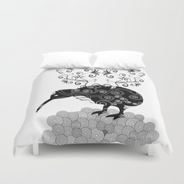 Black and white KIWI Duvet Cover