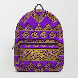 Ethnic  Golden Pattern  Swirl on Purple Leather Backpack