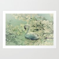 swan Art Prints featuring Swan by Ellen van Deelen