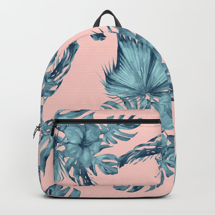 Dreaming of Hawaii Teal Blue on Millennial Pink Backpack