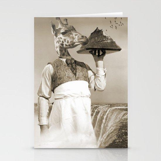 giraffe waiter  Stationery Cards