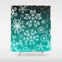Symbols in Snowflakes on Winter Green Shower Curtain