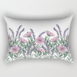 Pink and Lavender Floral Fields Rectangular Pillow