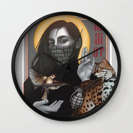 Resist girl icon with Asian leopard cat and sparrow with gun and grenade  Wall Clock