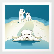 Polar bear cubs Art Print