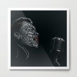 Billie Holiday Typographic Print Metal Print