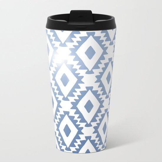 Aztec geometrics - chambray Metal Travel Mug